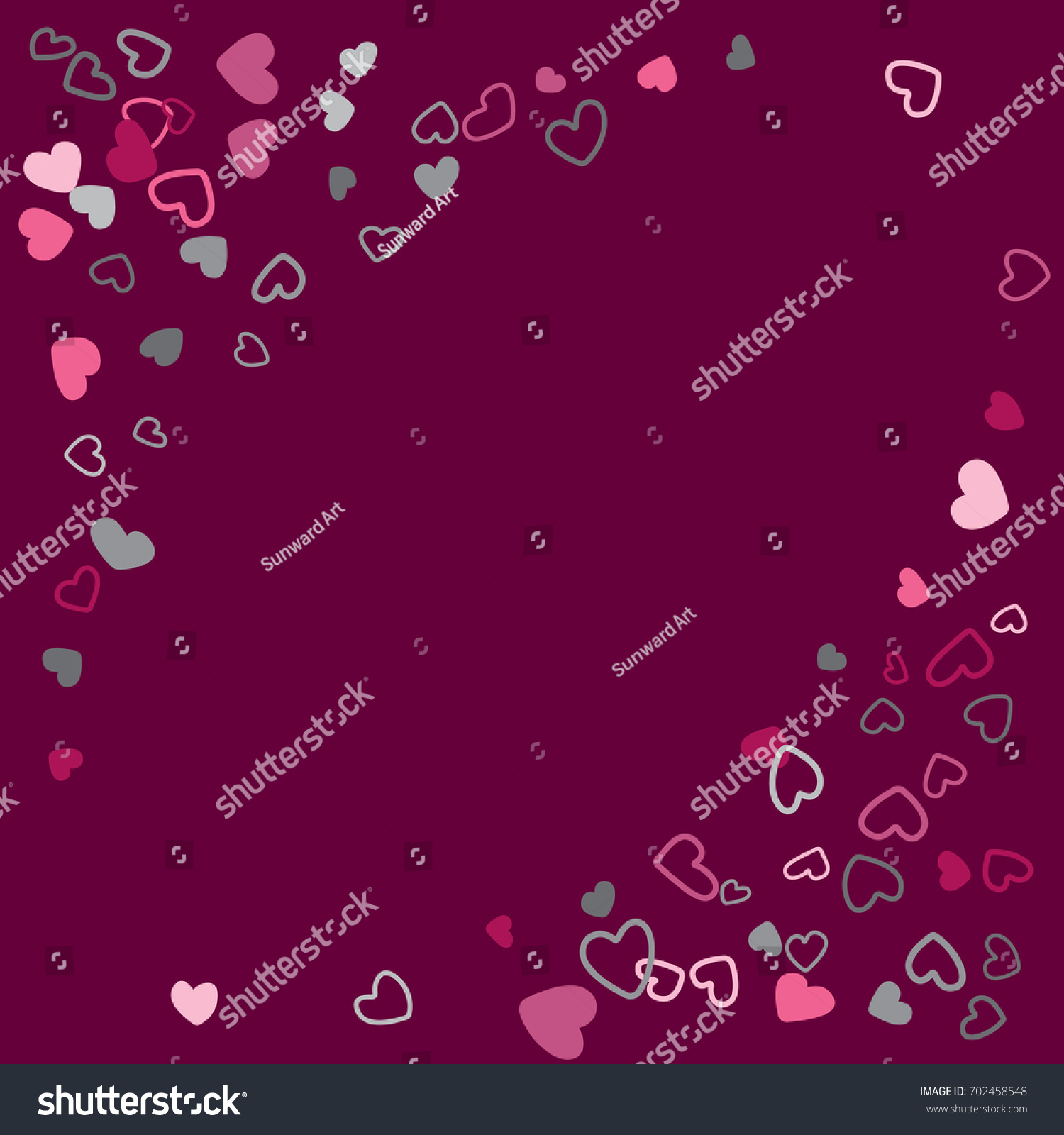 square banner with corners wedding background invitation card template vector heart confetti border with