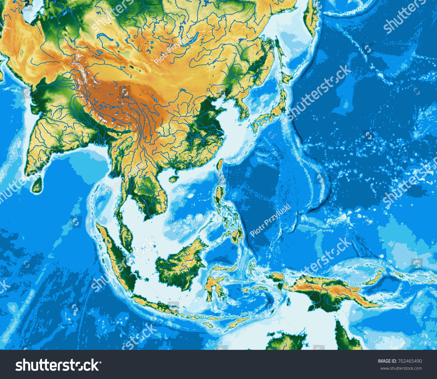 South East Asia Physical Map Elements Stock Illustration - Royalty ...
