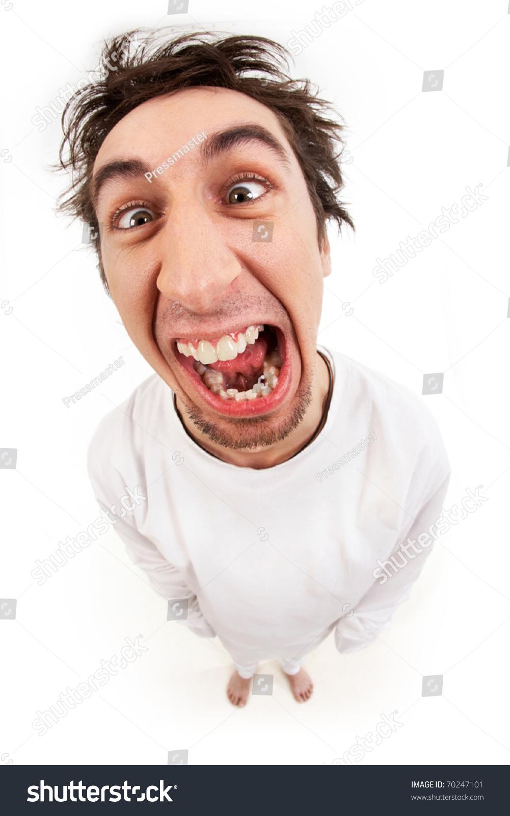 Fish Eye Shot Screaming Insane Man Stock Photo 70247101 - Shutterstock