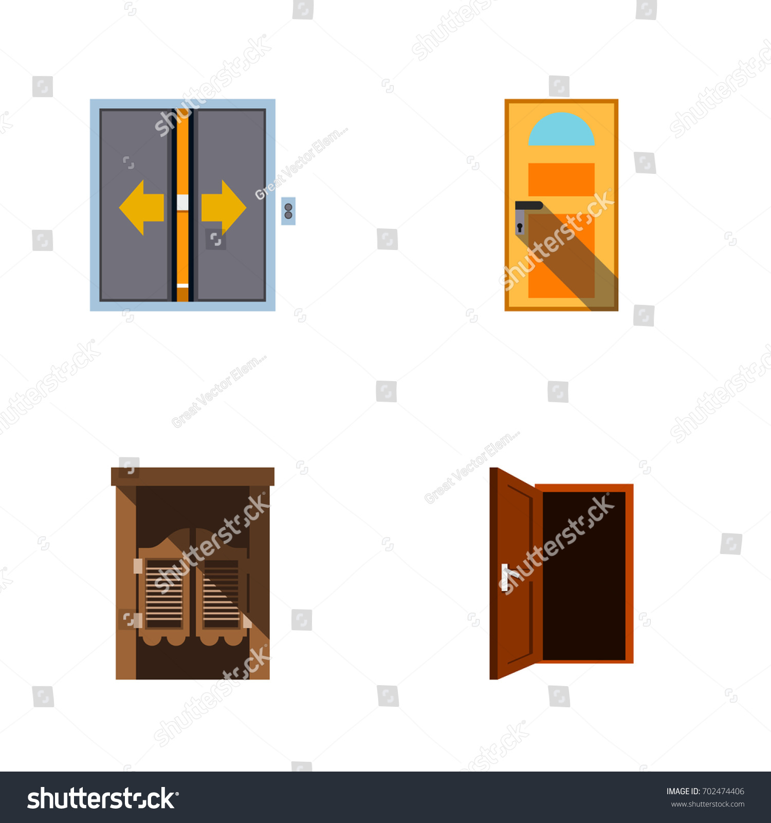 Flat Icon Door Set Of Saloon Approach Lobby And Other Vector Objects. Also  sc 1 st  Shutterstock & Flat Icon Door Set Saloon Approach Stock Vector 702474406 ... pezcame.com