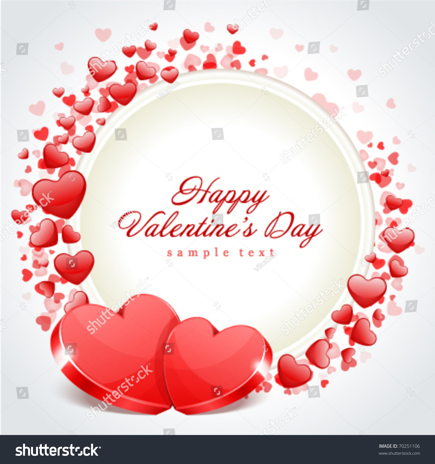 Valentineu0027s Day Frame Vector Background With Two Hearts