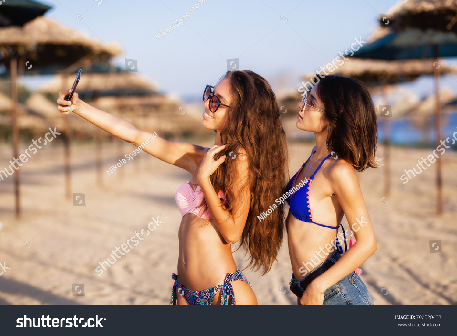 Two Sexy Girls Taking Selfie On Stock Photo Edit Now 702520438