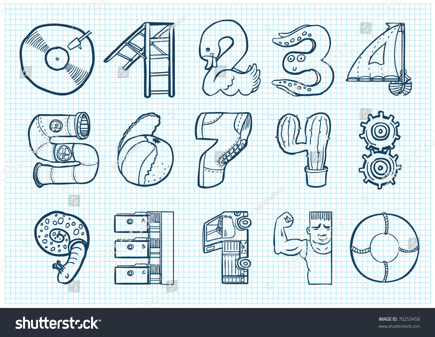 Funny Doodle Numbers Stock Vector (Royalty Free) 70253458 - Shutterstock
