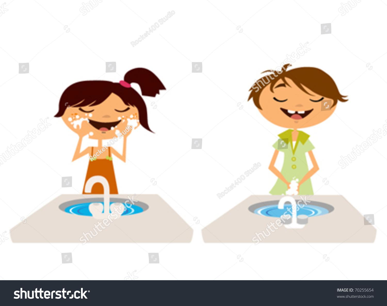 Set Of Cartoon Childrens Faces Stock Vector Art More: Kids Washing Face Hand Bathroom Stock Vector 70255654