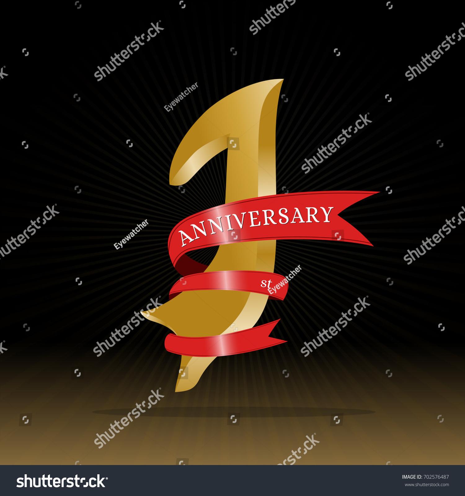 1st Anniversary Symbol Vector Stock Vector 702576487 Shutterstock