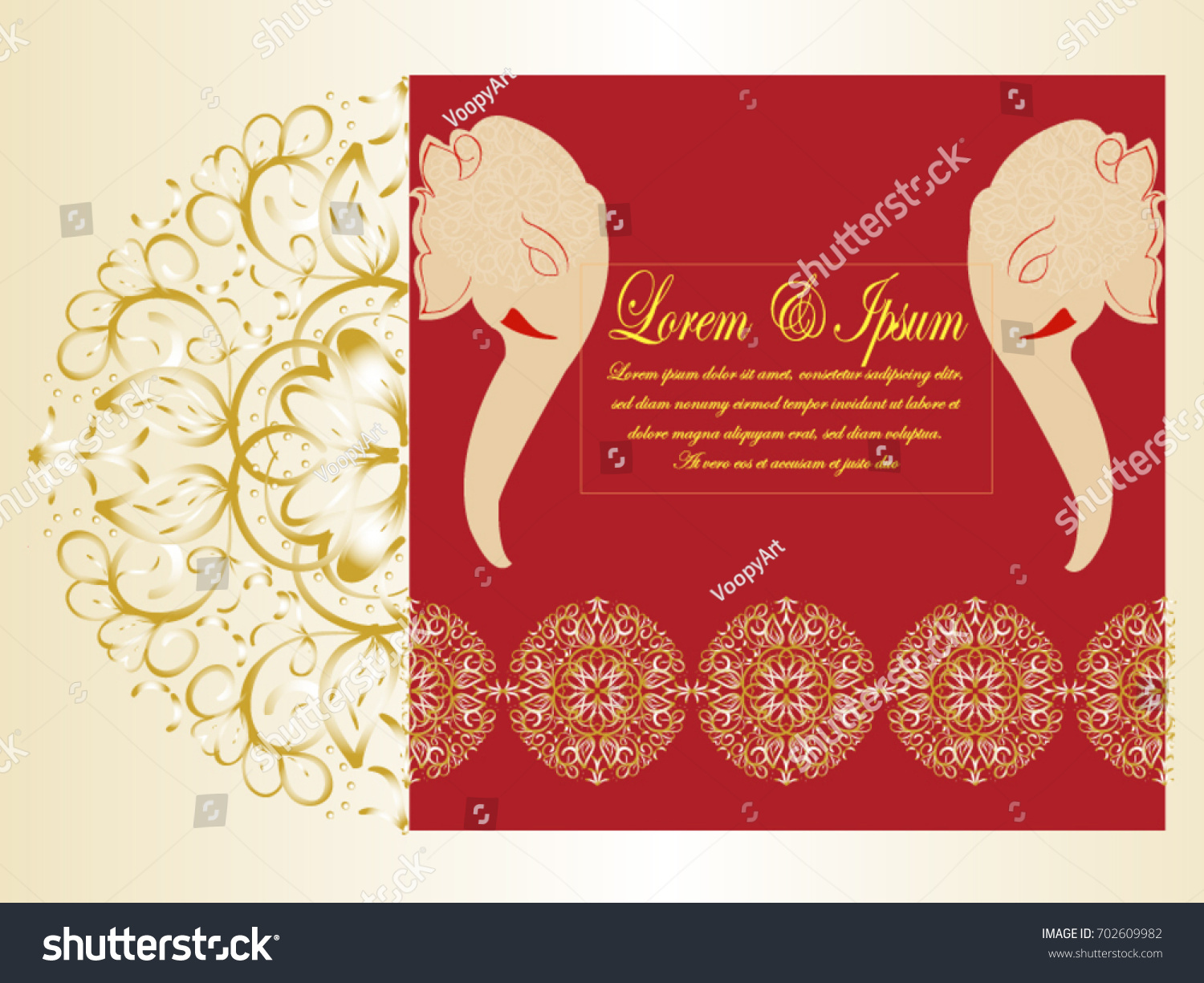 Invitation Elegant Wedding Card Mahdi Mandala Stock Vector 702609982 ...