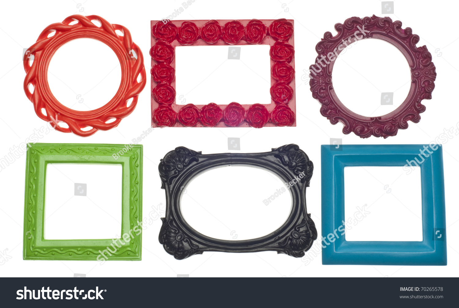 modern vibrant colored empty frames isolated on white with a clipping path