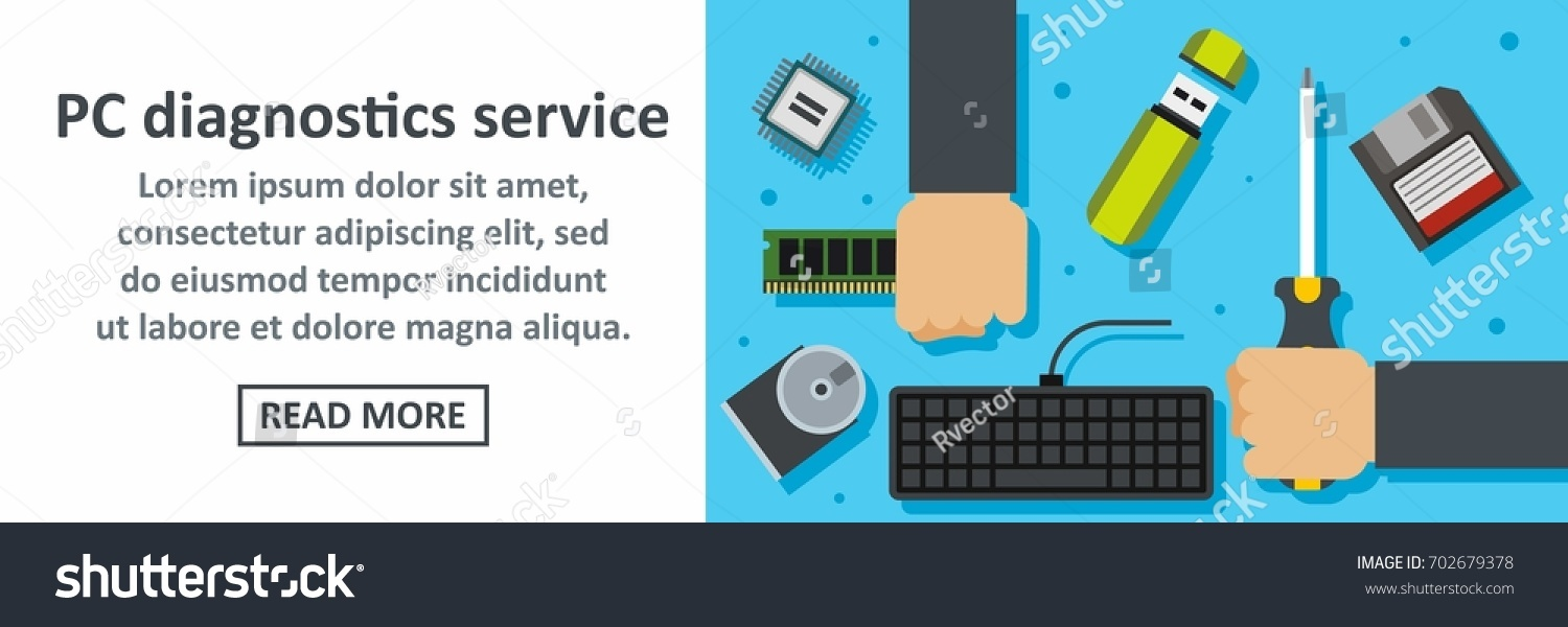 Pc diagnostics service banner horizontal concept flat illustration of pc diagnostics service banner horizontal vector