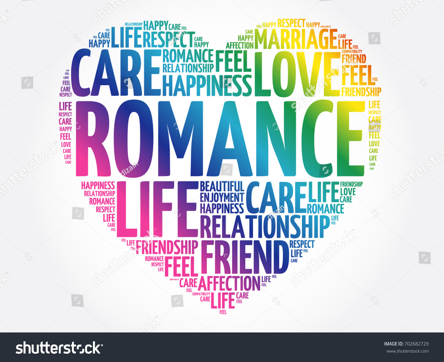romance word cloud collage heart concept stock vector royalty free