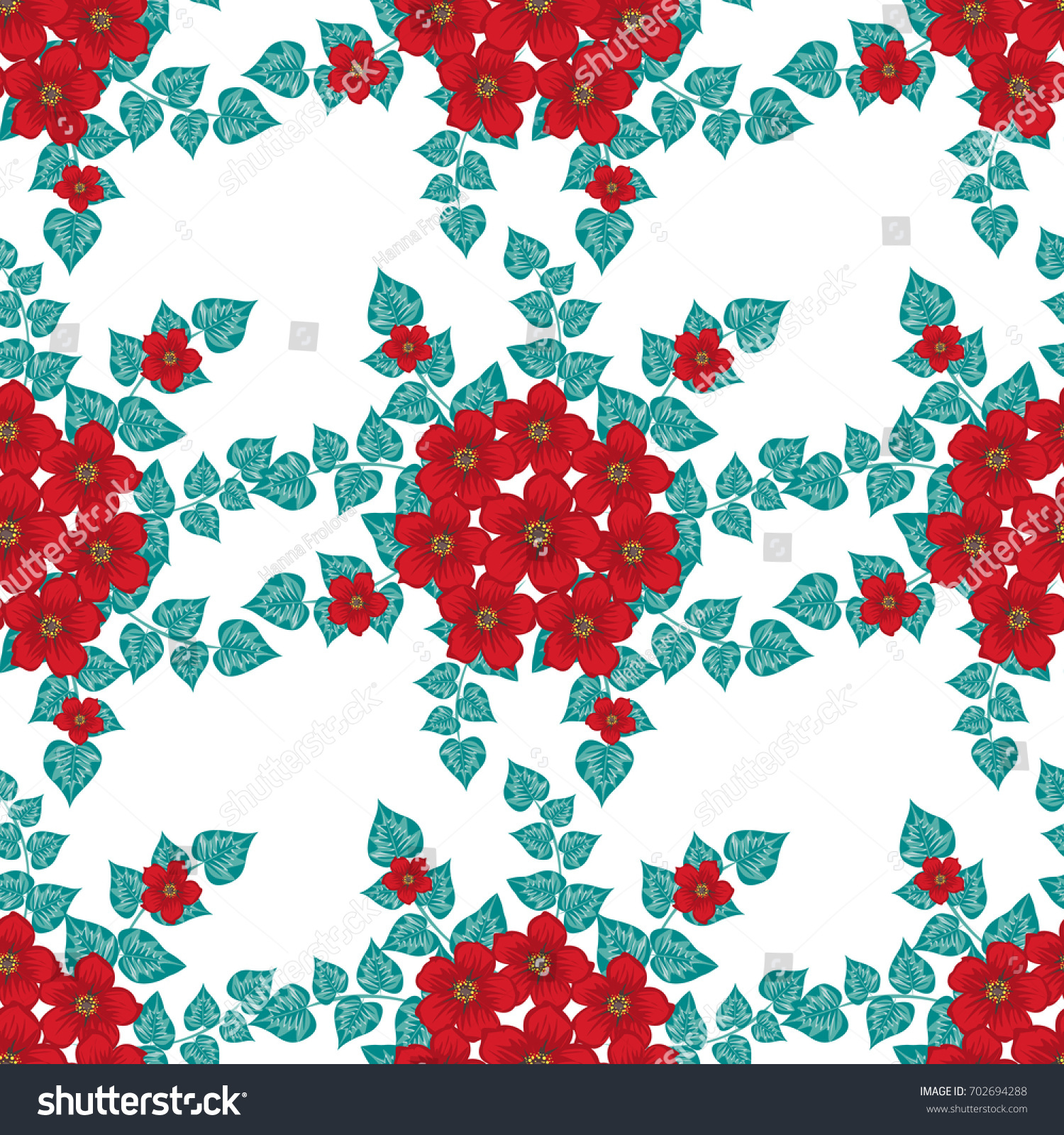 Seamless Floral Patterns Background Small Red Stock Vector