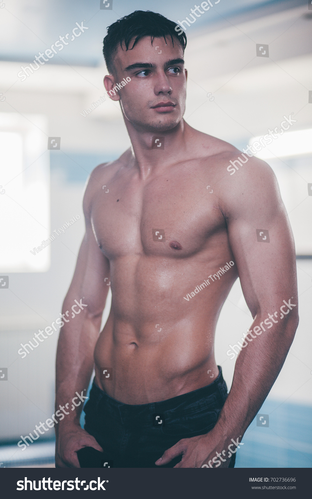 Naked athletic body Man Naked Wet Athletic Body Stock Photo Edit Now 702736696