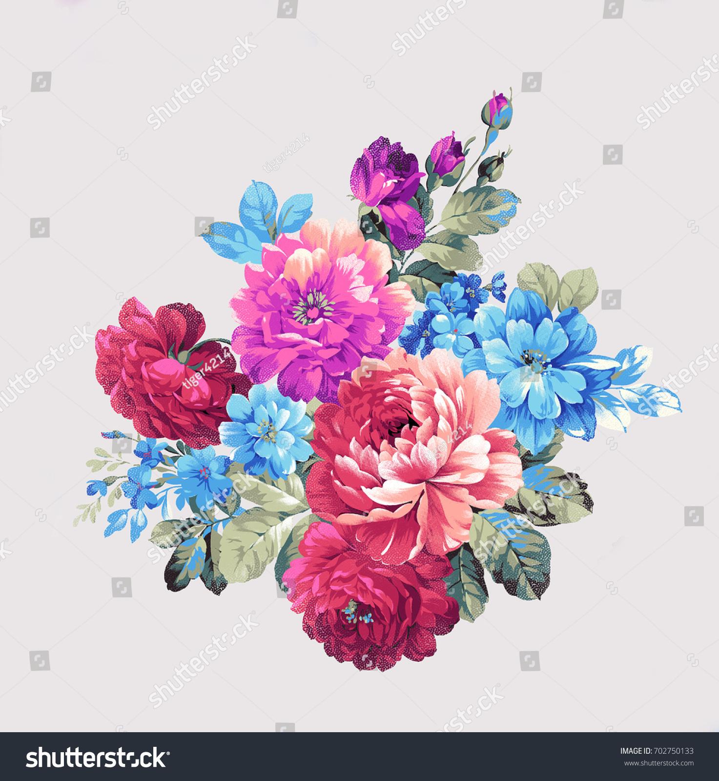 Blooming Flowers Leaves Flowers Art Design Stock Illustration