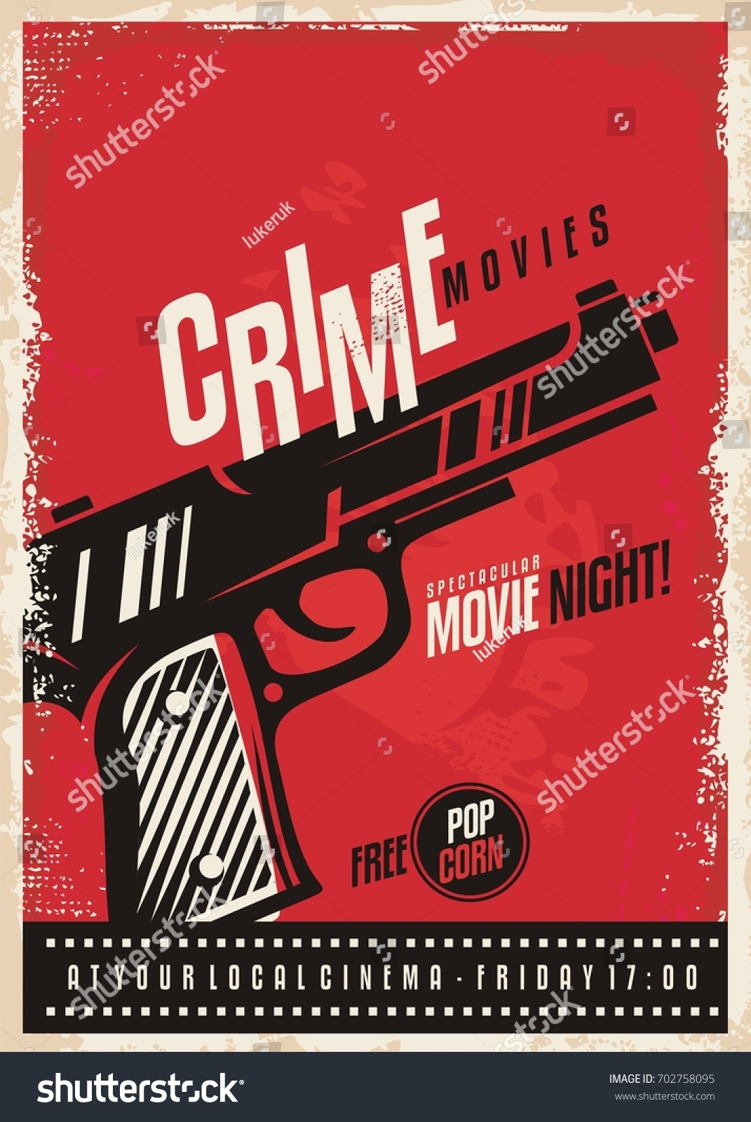 crime movies poster design template gun stock vector royalty free