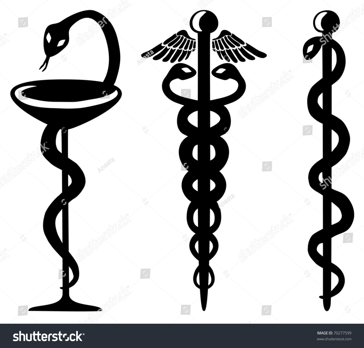 Snake Cup Caduceus Staff Asclepius Medical Stock Vector Royalty