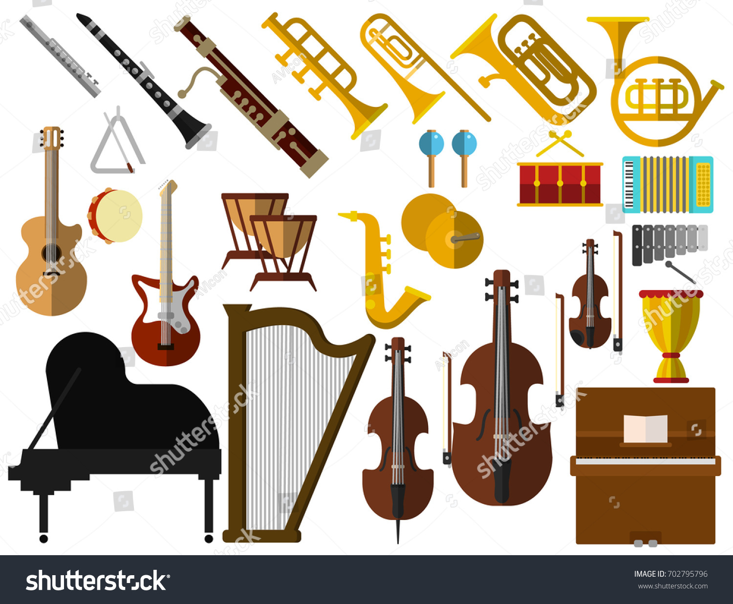 Musical Instruments Elements Collection Flat Icons Stock Vector Hd