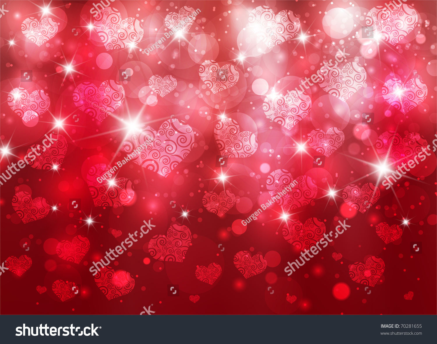 Beautiful Valentine Background With Nice Hearts And Sparks