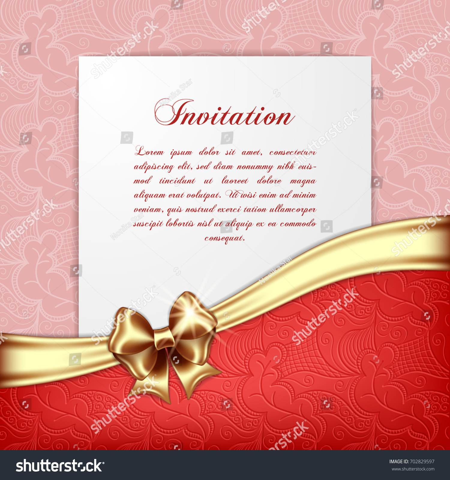 Retro Background Silk Bow Greeting Card Stock Vector (Royalty Free ...