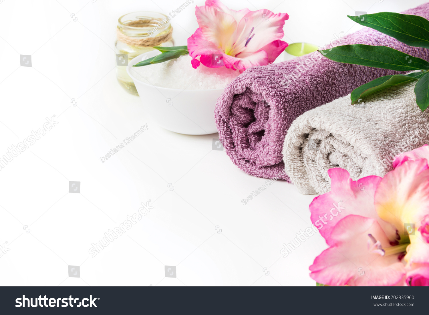 Spa setting towel flower isolated on stock photo edit now spa setting of towel flower isolated on white background with copy space izmirmasajfo