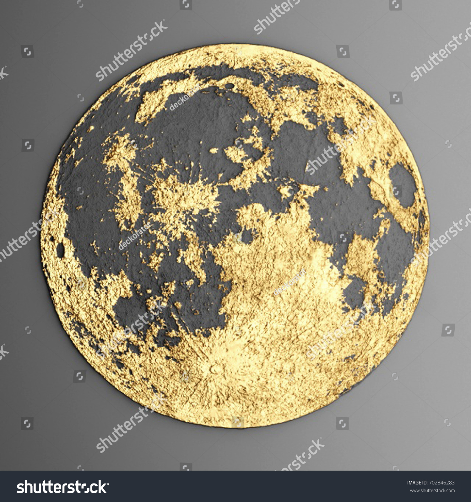 3 D Wall Art Picture Modern Moon Stock Illustration 702846283 ...