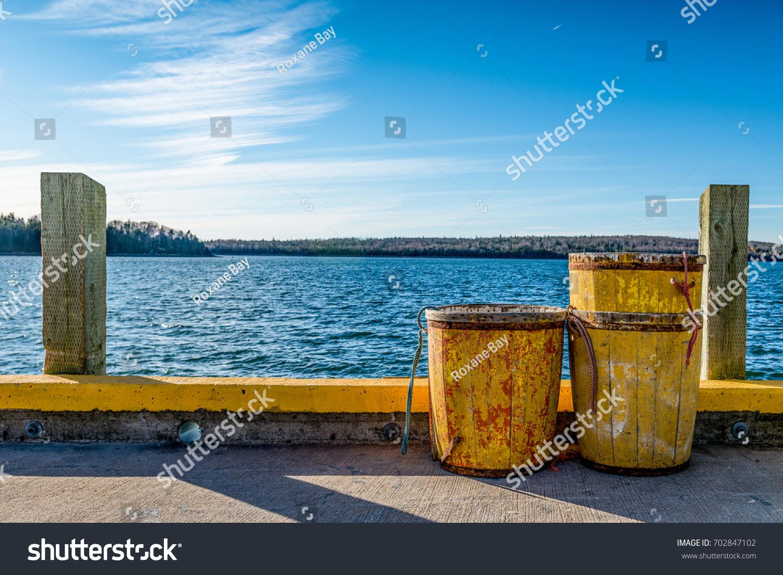 Trawl Tubs On Wharf Atlantic Canada Stock Photo (Royalty Free ...