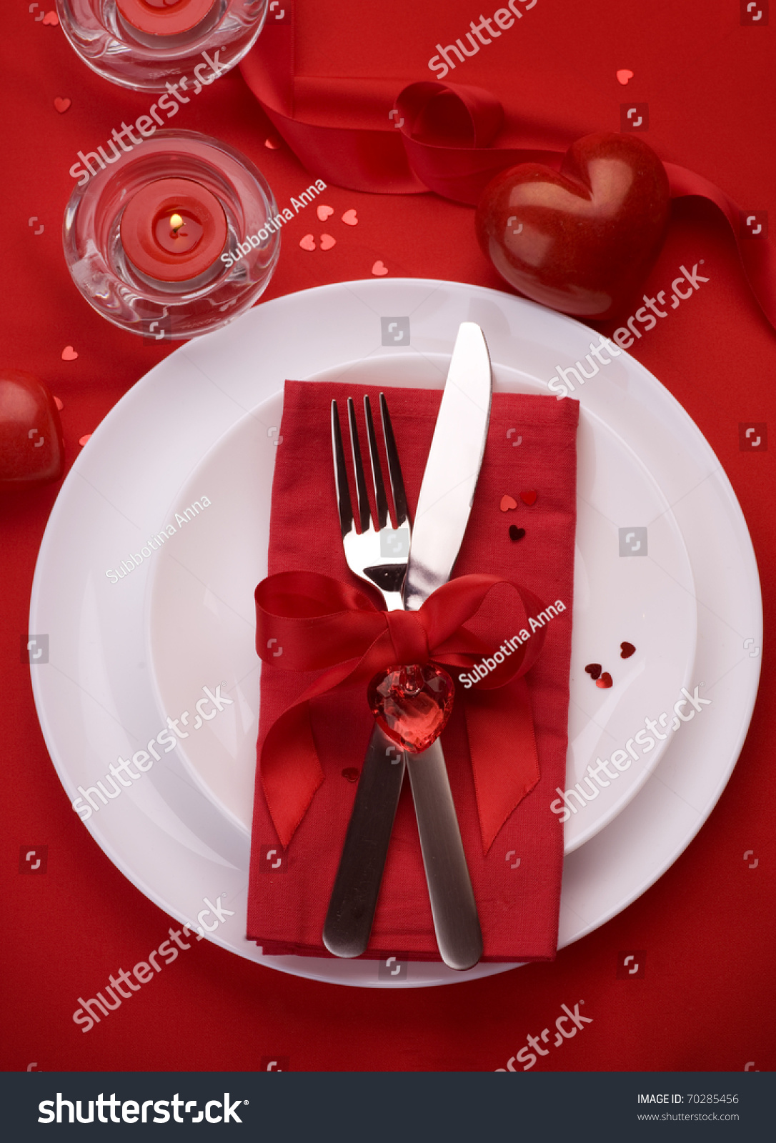 Romantic dinner table decoration - Romantic Dinner Table Place Setting For Valentine S Day