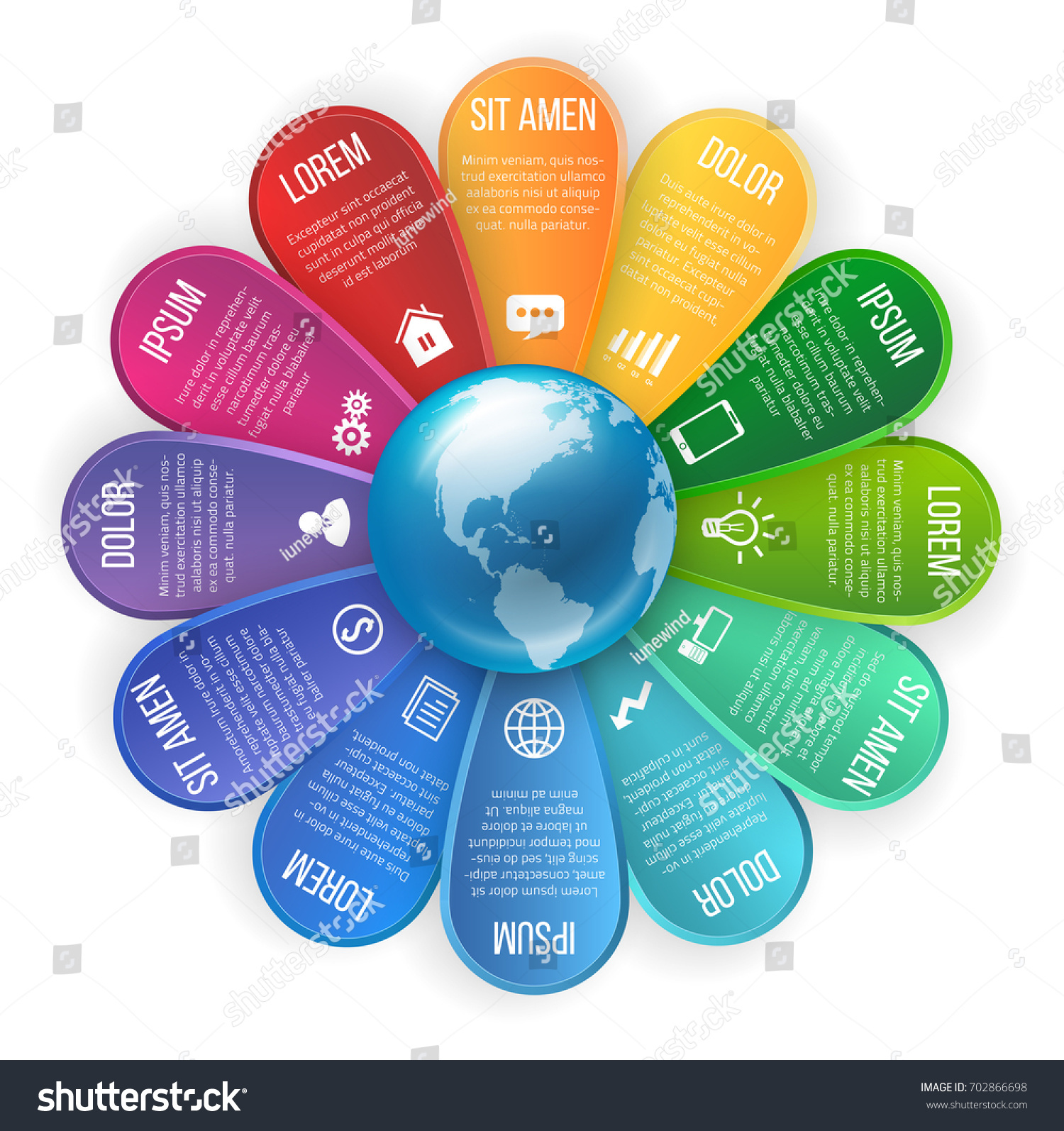 Flower Style Infographic 12 Leaf Rainbow Stock Vector (Royalty Free ...