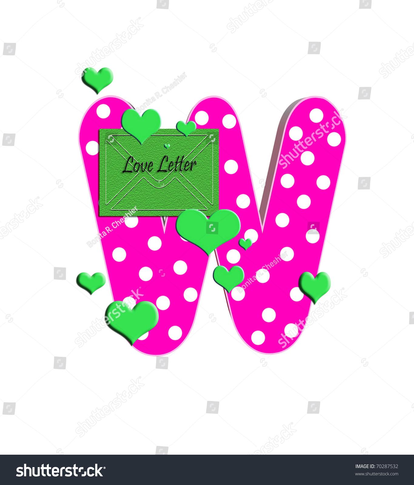 w alphabet set love filled polka stock illustration - royalty free