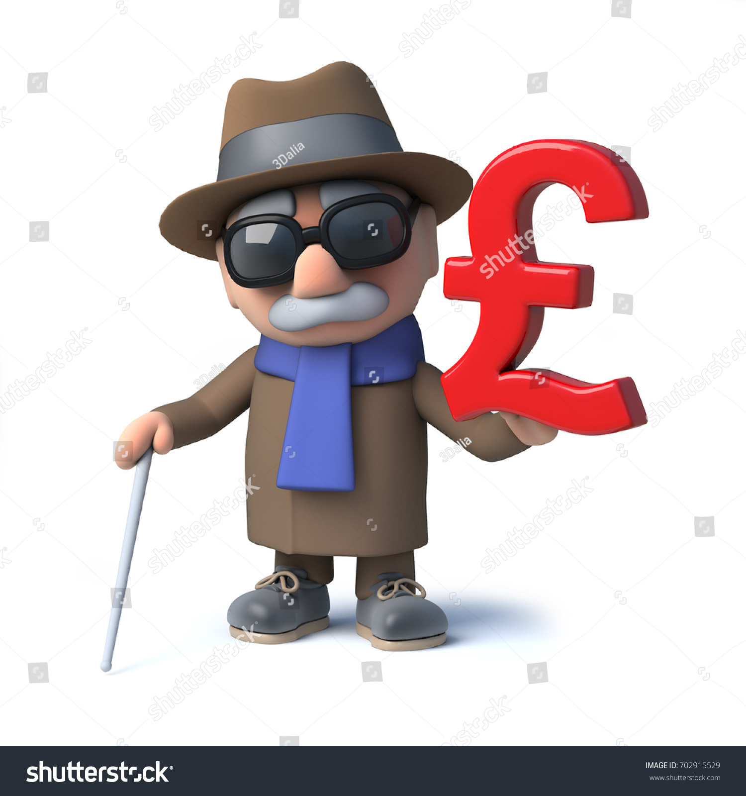 3 D Render Cartoon Blind Man Character Stock Illustration 702915529