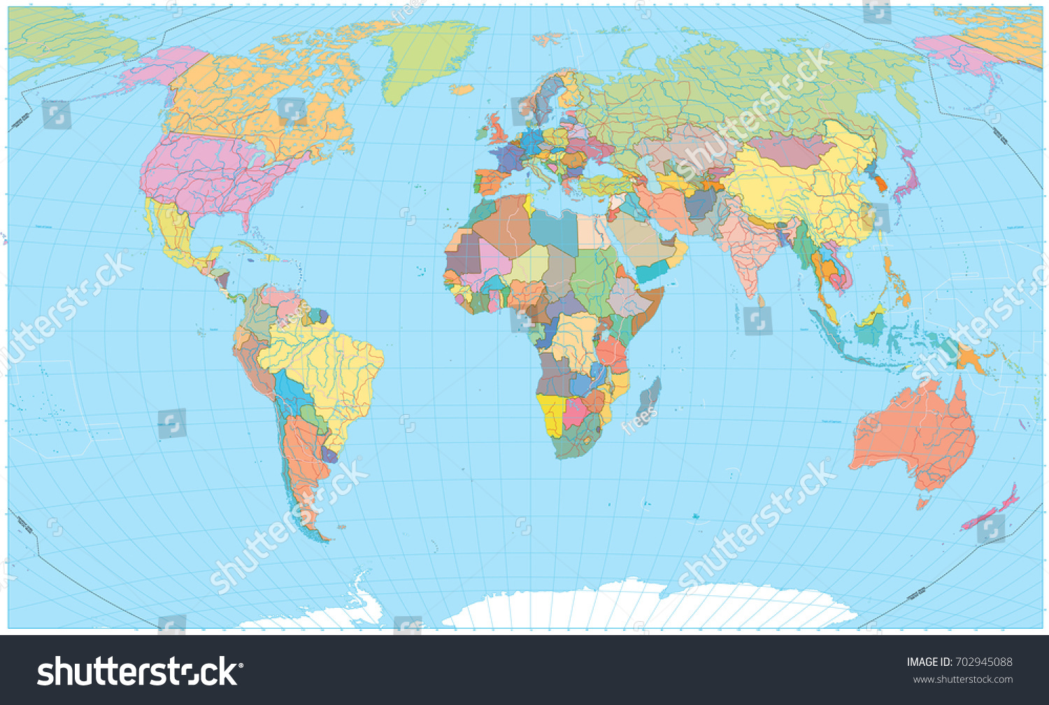 Colored World Map Borders Roads Rivers Stock Photo Photo Vector