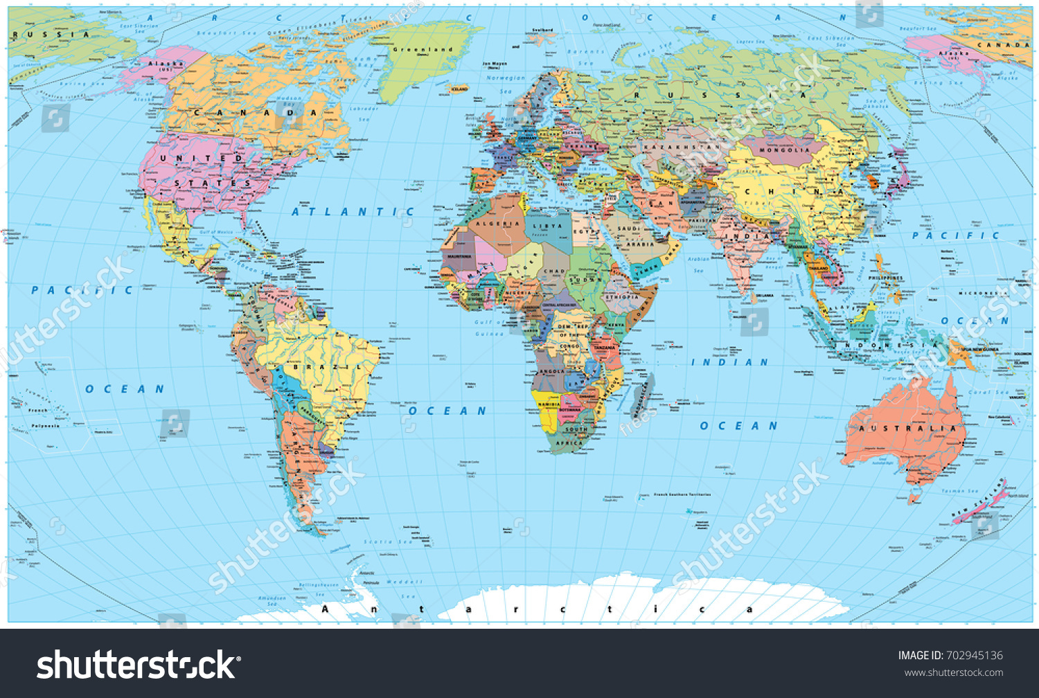 Colored world map borders countries roads vectores en stock colored world map borders countries roads vectores en stock 702945136 shutterstock gumiabroncs Choice Image