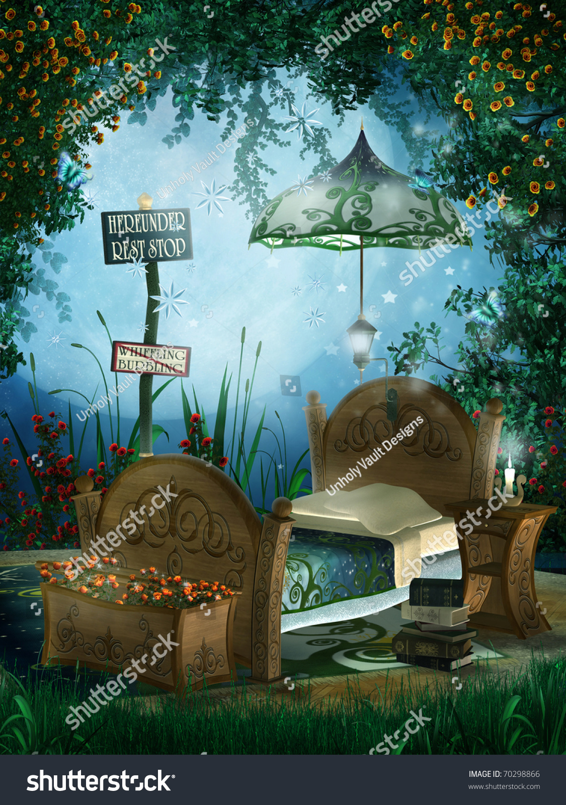 Enchanted garden with children s bedroom. Enchanted Garden Childrens Bedroom Stock Illustration 70298866