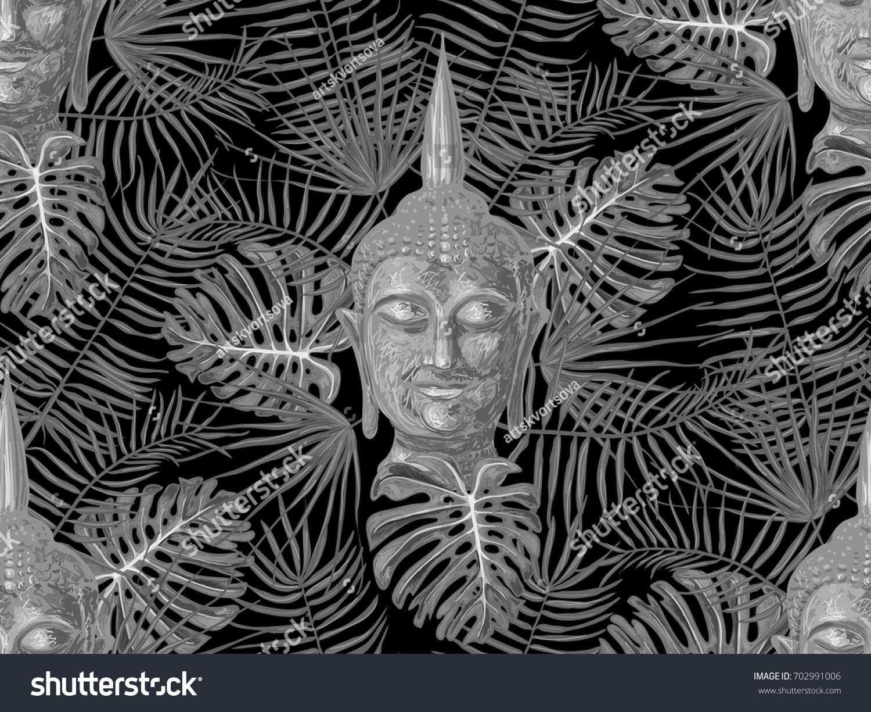 Seamless hippie pattern sitting buddha palm stock vector 702991006 seamless hippie pattern with sitting buddha palm leaves thai god yoga zen biocorpaavc Choice Image