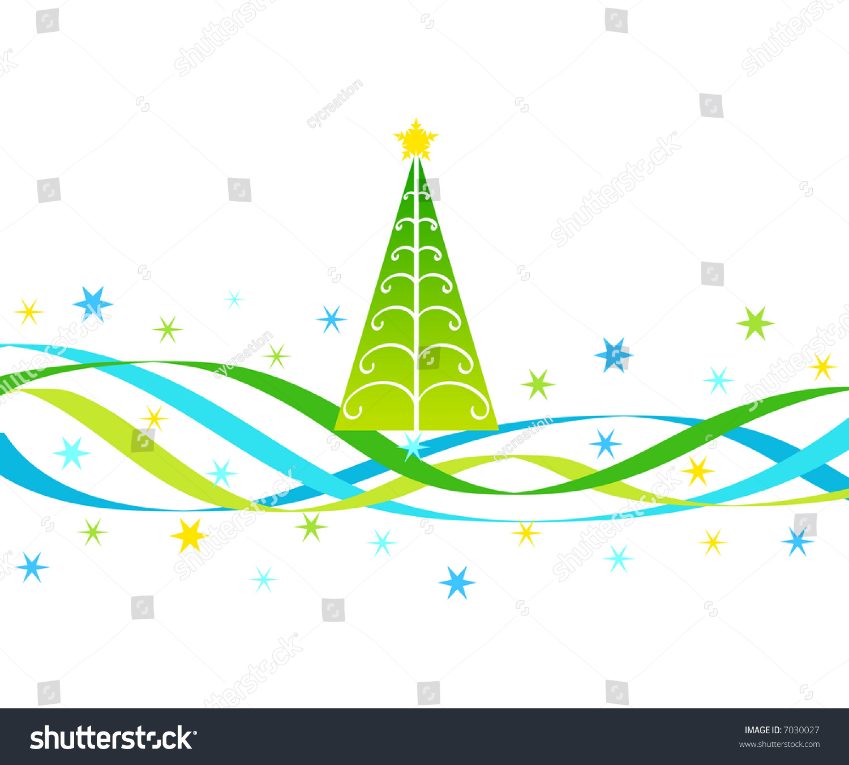 Funky Christmas Tree Ribbons Stars Stock Illustration 7030027 ...