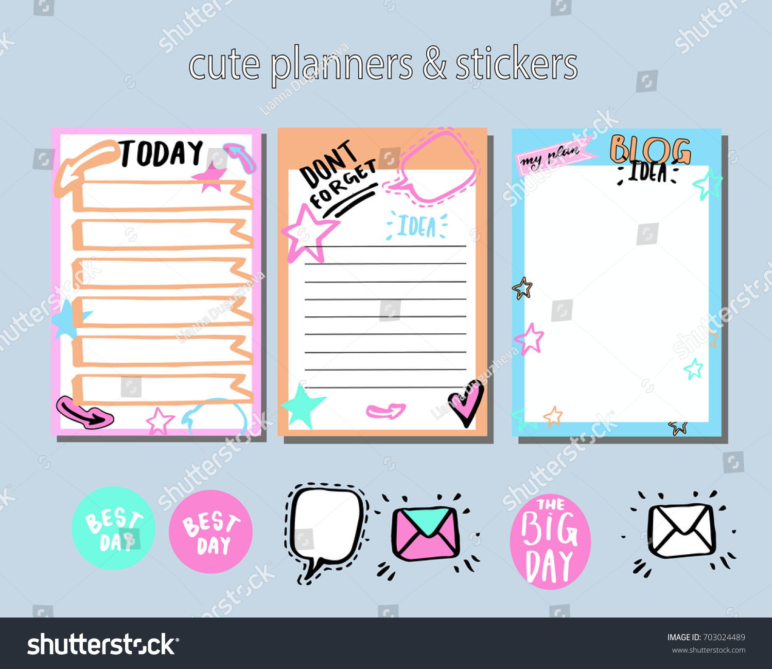 planner daily planner cute stickers do stock vector royalty free
