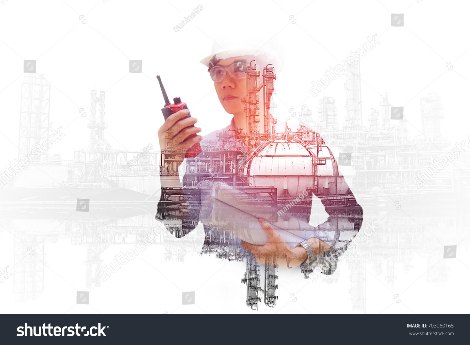 Asian engineer monitoring in oil and gas refinery plant, Double exposure  engineering hand holding portable