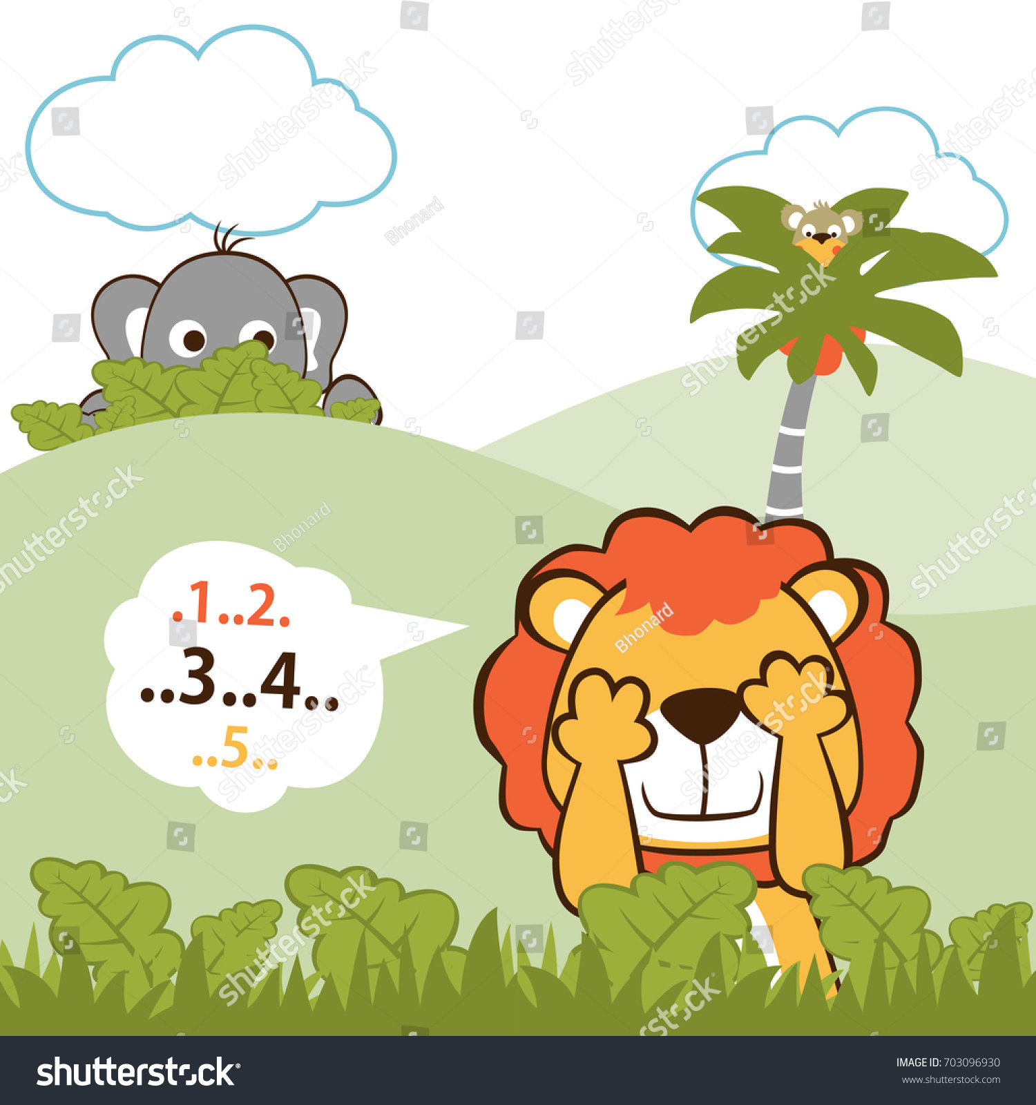 Cute Animals Playing Hide Seek Lion Stock Vector 703096930 ...