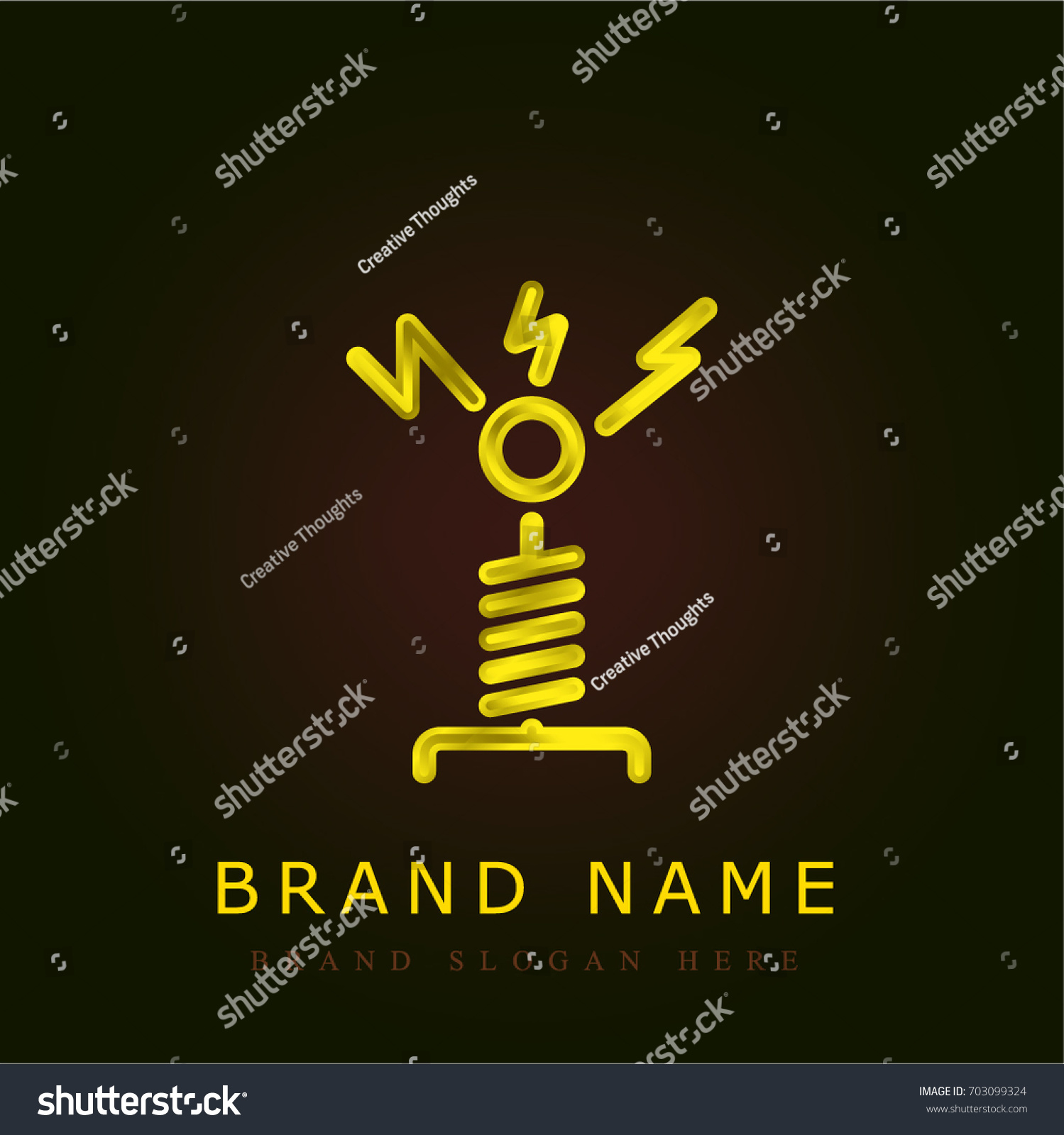 Tesla coil golden metallic logo stock vector 703099324 shutterstock tesla coil golden metallic logo buycottarizona Gallery