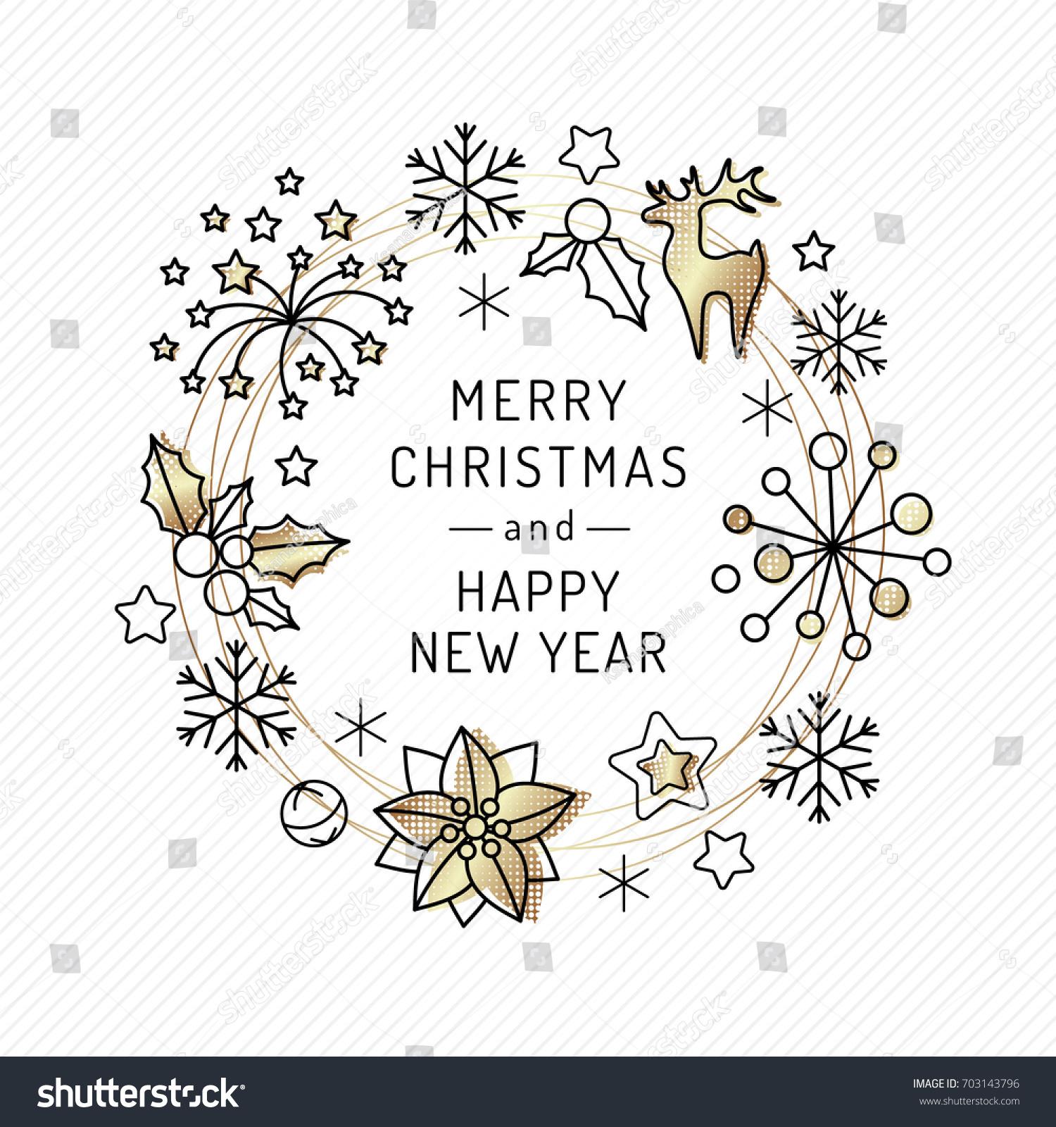 Christmas Card Line Art Icons Xmas Stock Vector Royalty Free