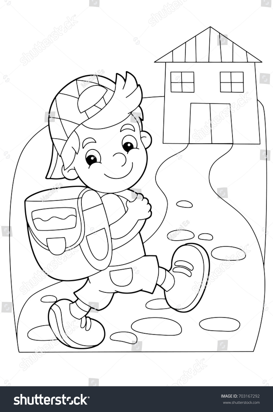 cartoon coloring page boy going to school or getting back to home illustration for - Home Coloring Pages