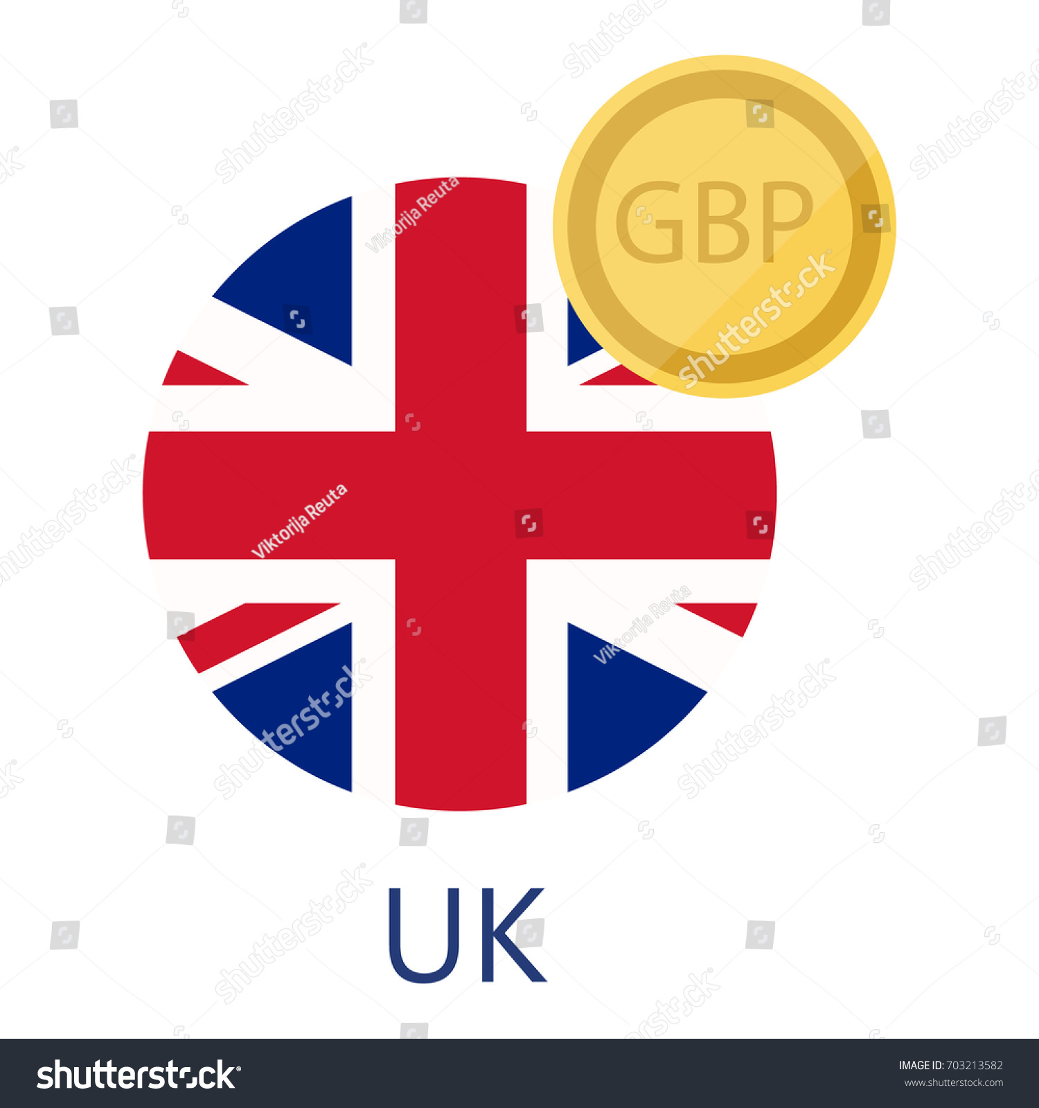 Vector Illustration Uk Round Flag Currency Stock Vector 703213582
