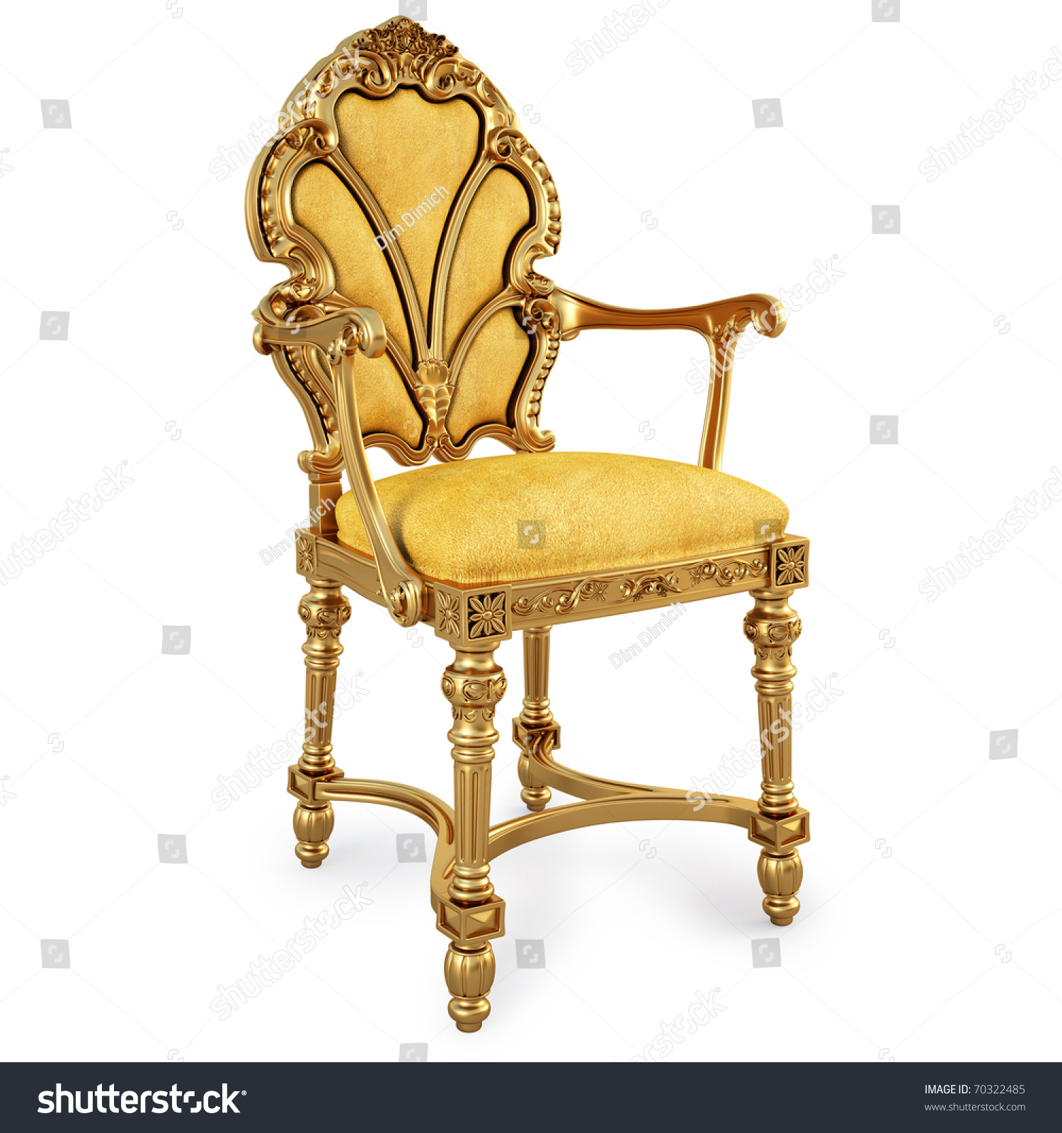 Golden Chair Yellow Skin Isolated Stock Illustration