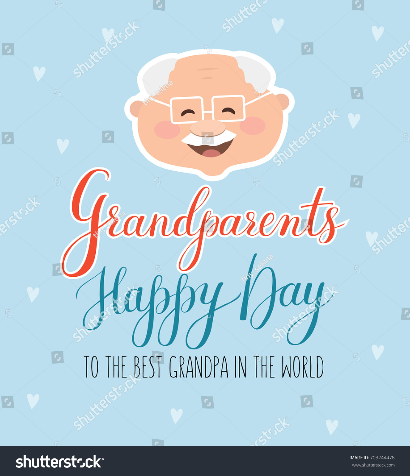 Vector Greeting Card Happy Grandparent Day Stock Vector 703244476