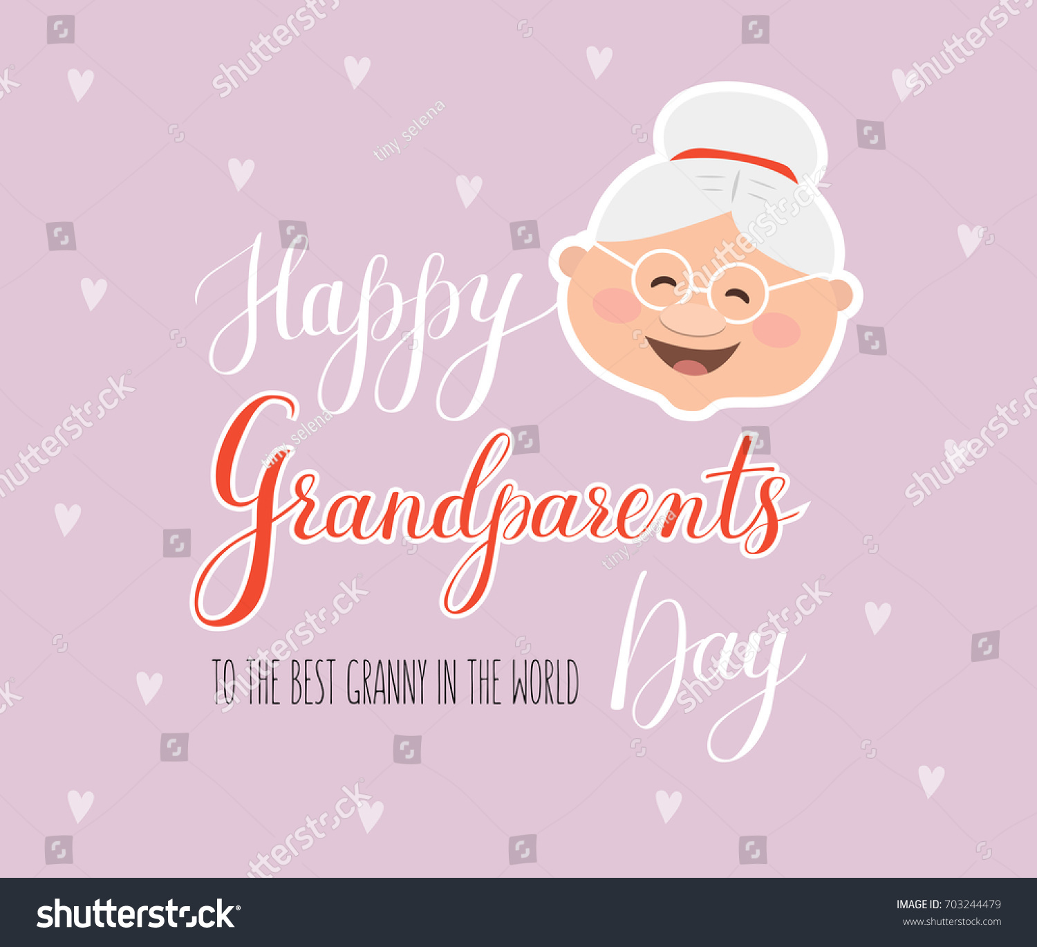 Vector Greeting Card Happy Grandparent Day Stock Vector