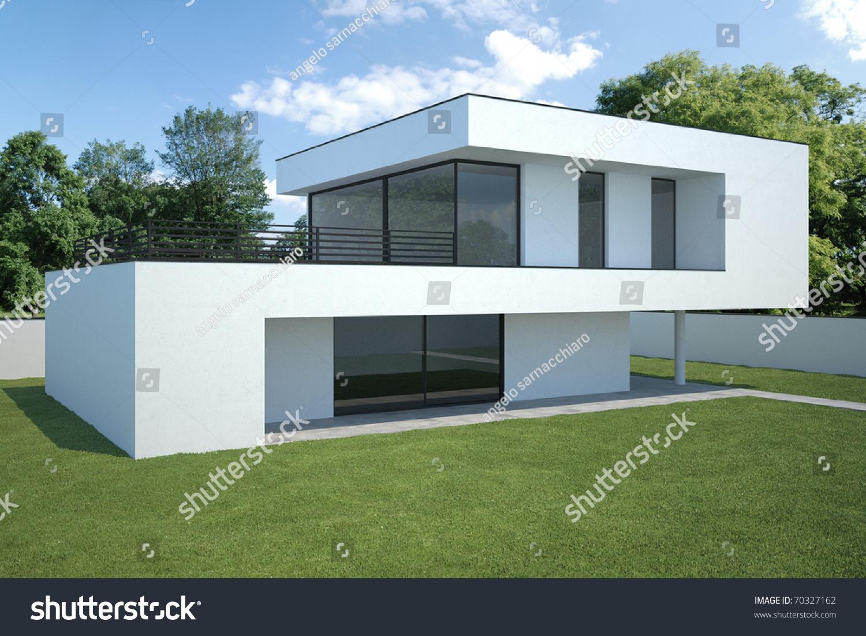 Modern House xterior Lawn Stock Illustration 70327162 - Shutterstock - ^