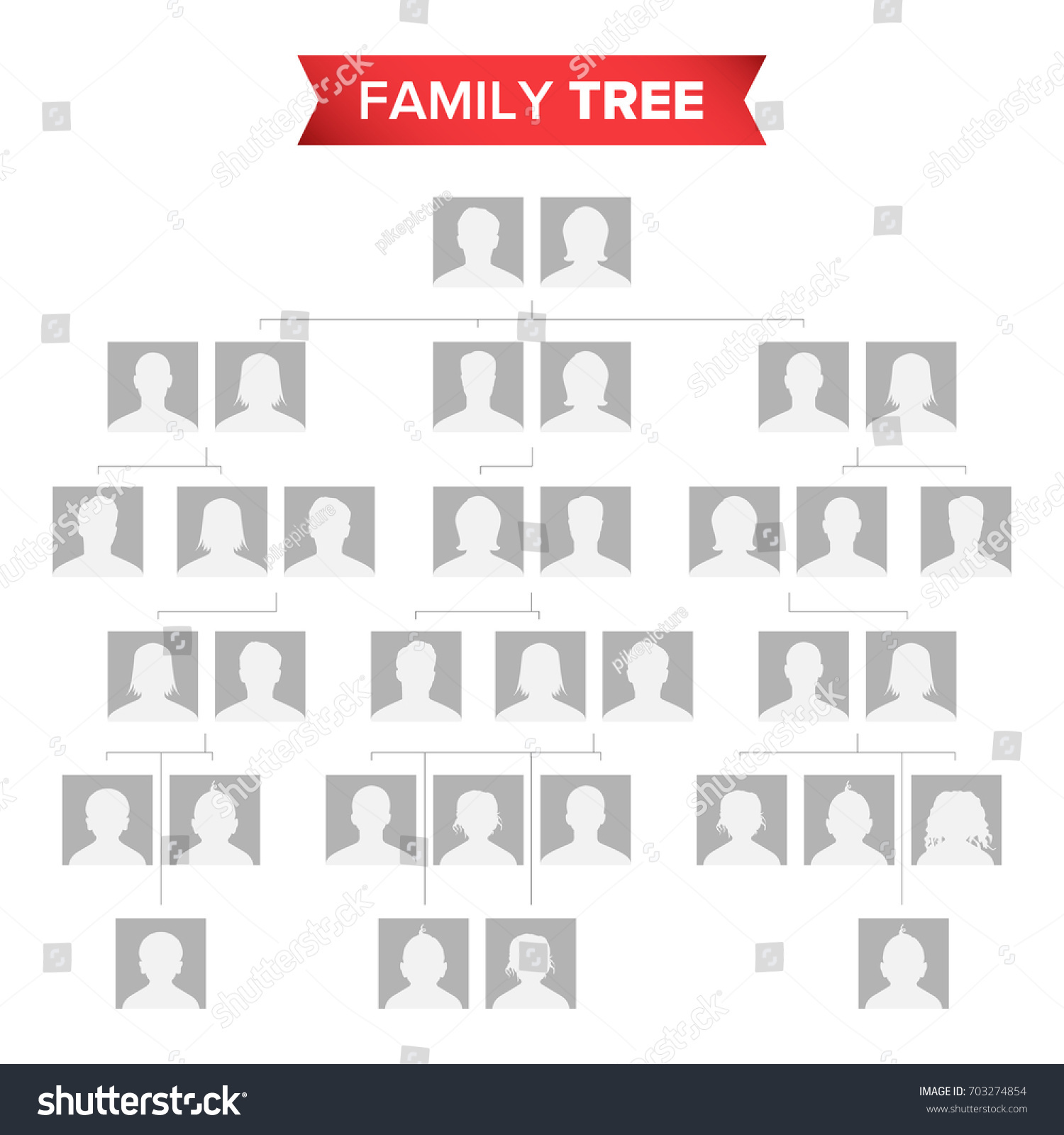 Genealogical Tree Template Vector Family History Stock Vector