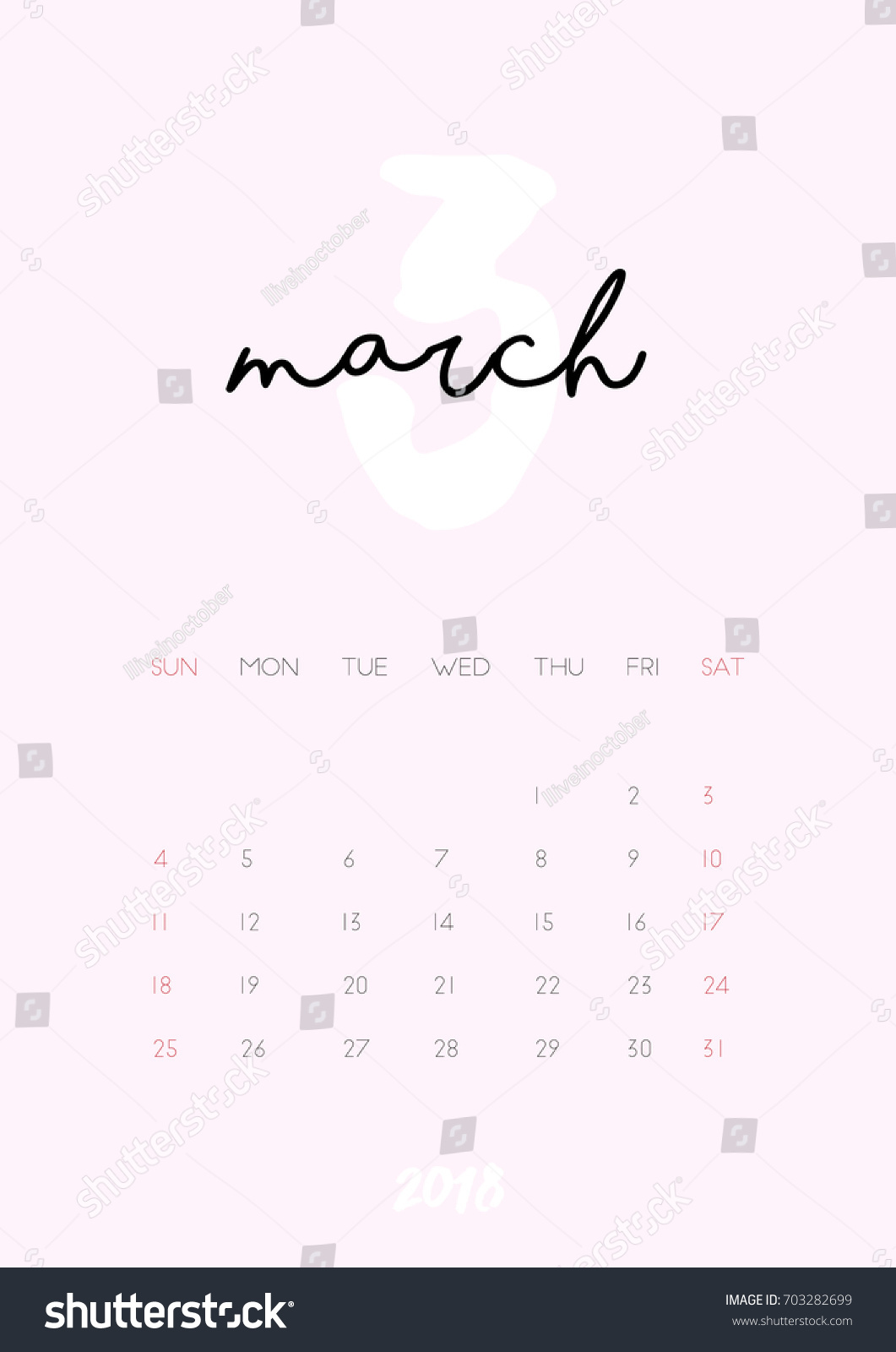beautiful monthly calendar for march 2018 year printable and ready to use design template