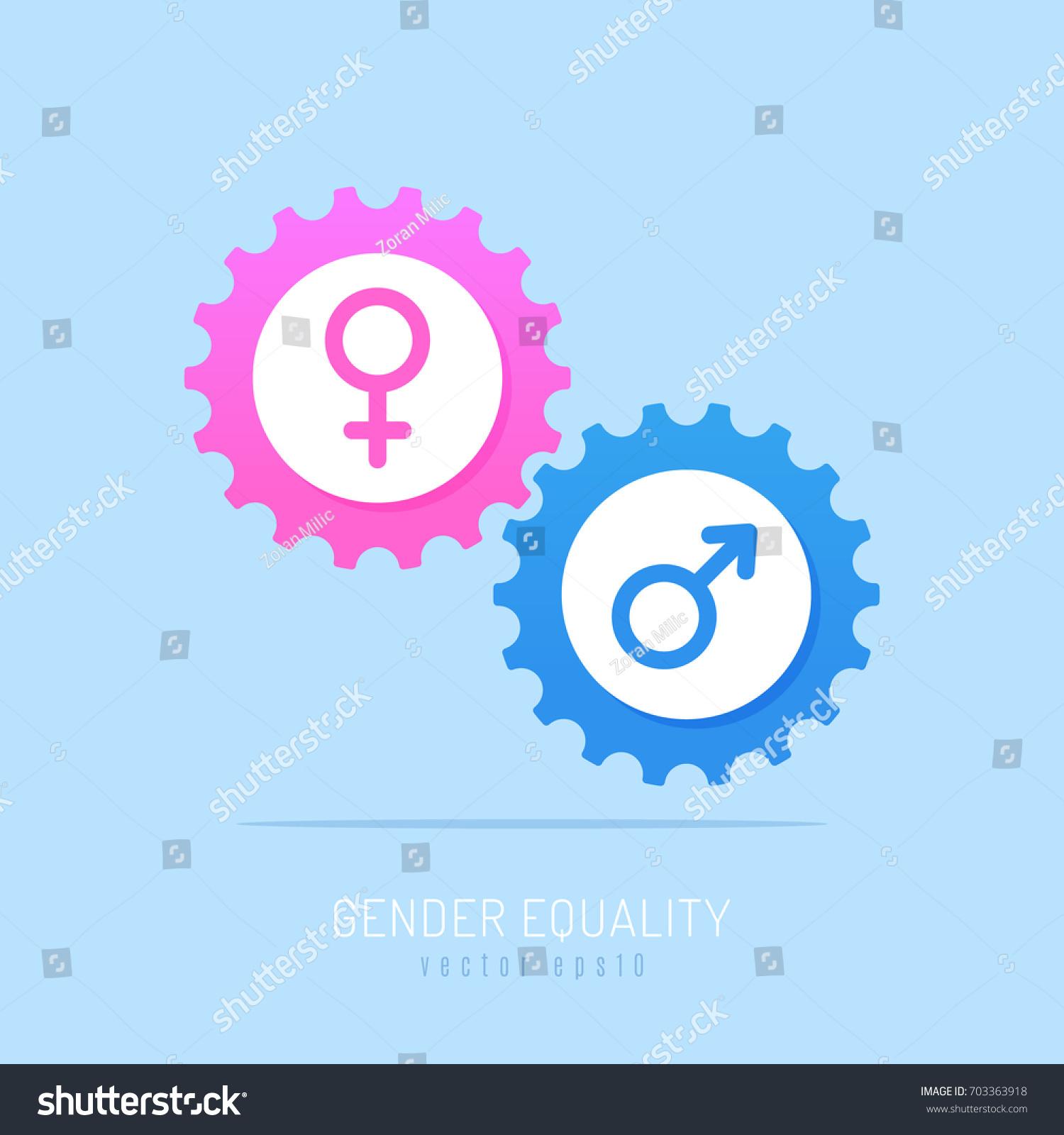 Gear Mechanism Pink Blue Gears Male Stock Vector 2018 703363918