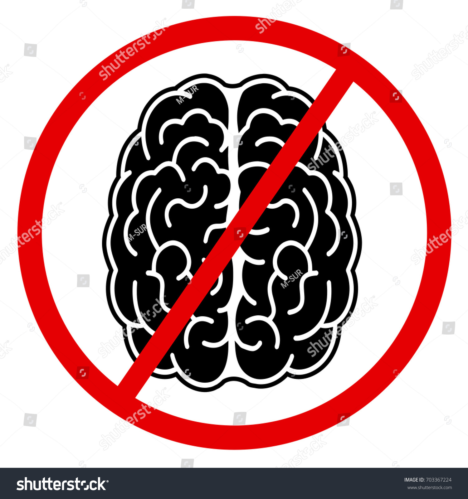 Brain symbol crossing out lack intelligence stock vector 703367224 brain and symbol of crossing out lack of intelligence and stupidity because of being brainless biocorpaavc