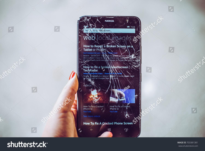 Cracked Screen Smartphone Hand Holding Broken Stock Photo