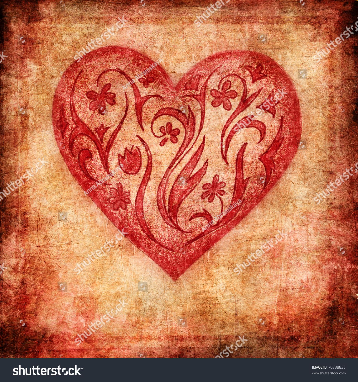 Vintage Heart Background Vintage Valenti...